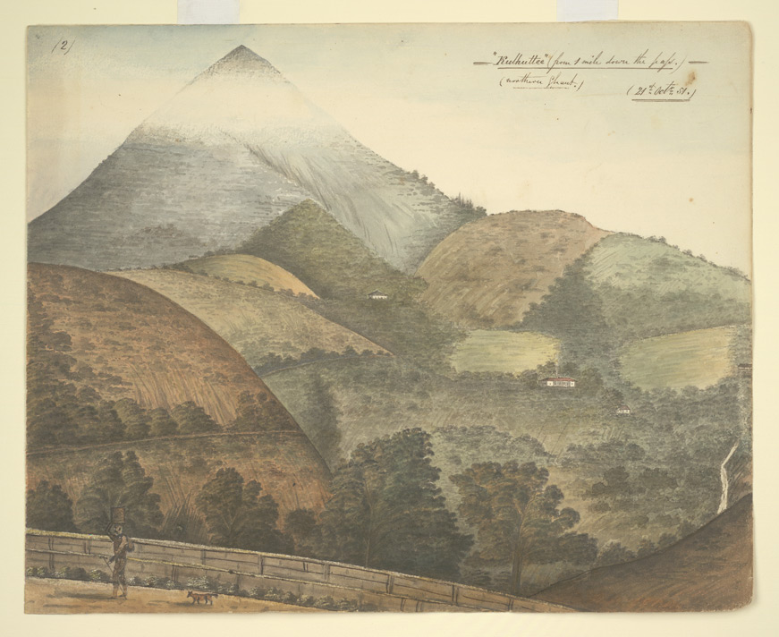 Kalhatti, near Ootacamund.  View of mountain, its summit veiled in mist; in the foreground, wooded hills. 21 October 1851